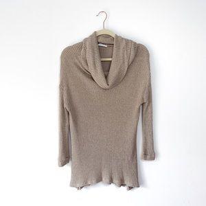 Lush Long Knit Turtleneck Taupe Sweater